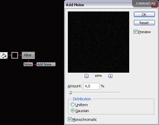 Рис. 5 Схема заливки с добавлением шума+окно «Добавление шума»