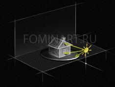 Рис. 13 Распределение света при фронтальном освещении одним источником света