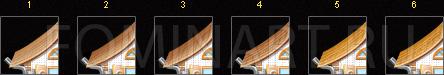 Рис. 32 Процесс создания крыши домика